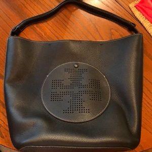 Tori Burch Perforated Black Leather Hobo